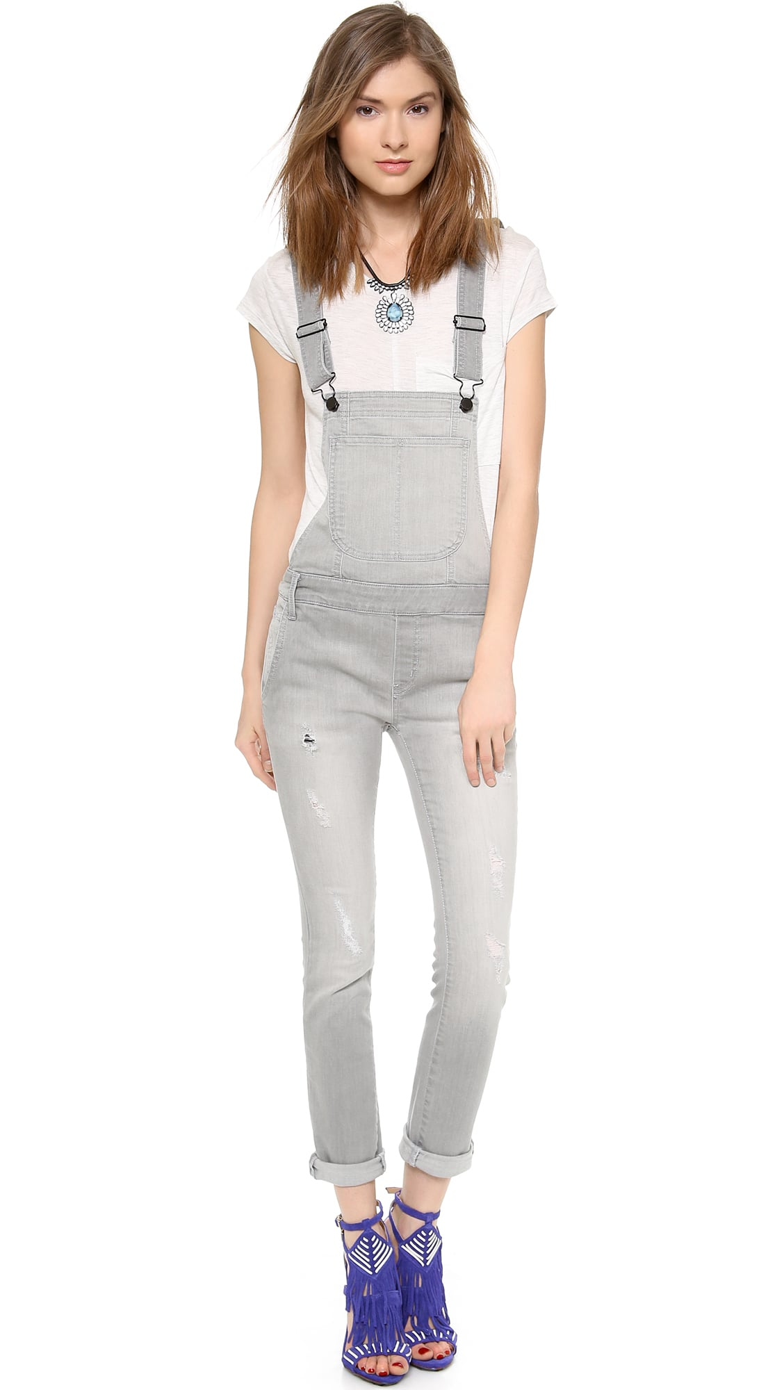 Black Orchid gray skinny overalls ($174)