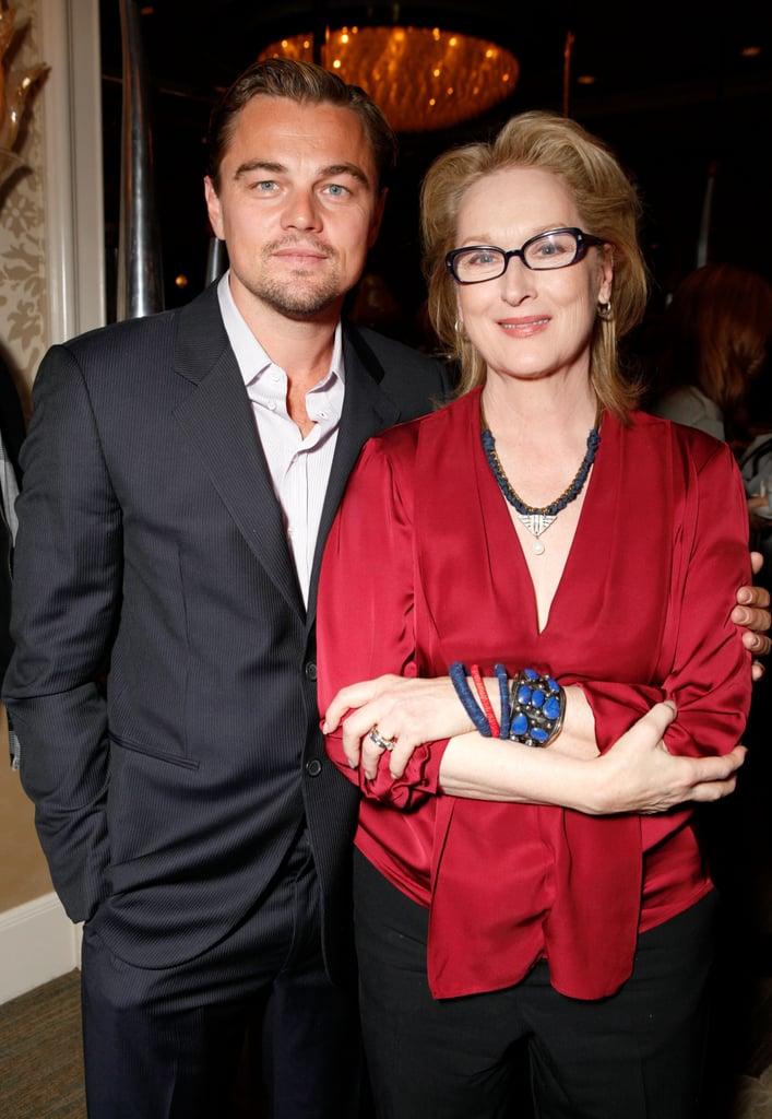 Leonardo DiCaprio posed with Meryl Streep at the BAFTA Tea Party in January 2012.
