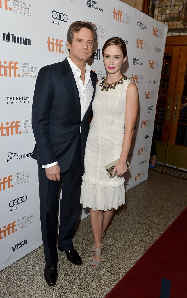 Colin Firth and Emily Blunt teamed up to premiere Arthur Newman at the Toronto International Film Festival last night. Emily stuck around the Canadian city after supporting her friend Ben Affleck at his TIFF premiere of Argo on Friday with her husband, John Krasinski; Ben's wife, Jennifer Garner; and their mutual pals Matt and Luciana Damon. For yesterday's big event, Emily paired Graziela earrings with a dress customized by Colin's wife Livia's Green Carpet Challenge. The white frock is an older number from Tory Burch, updated and made new again for Emily's big evening. Colin and Emily are two of the many celebs who've rolled through Toronto so far —check out all the celebrities at the Toronto International Film Festival during the 2012 celebration.
