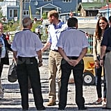 Kate Middleton and Prince William are greeted at a seaplane in Canada.