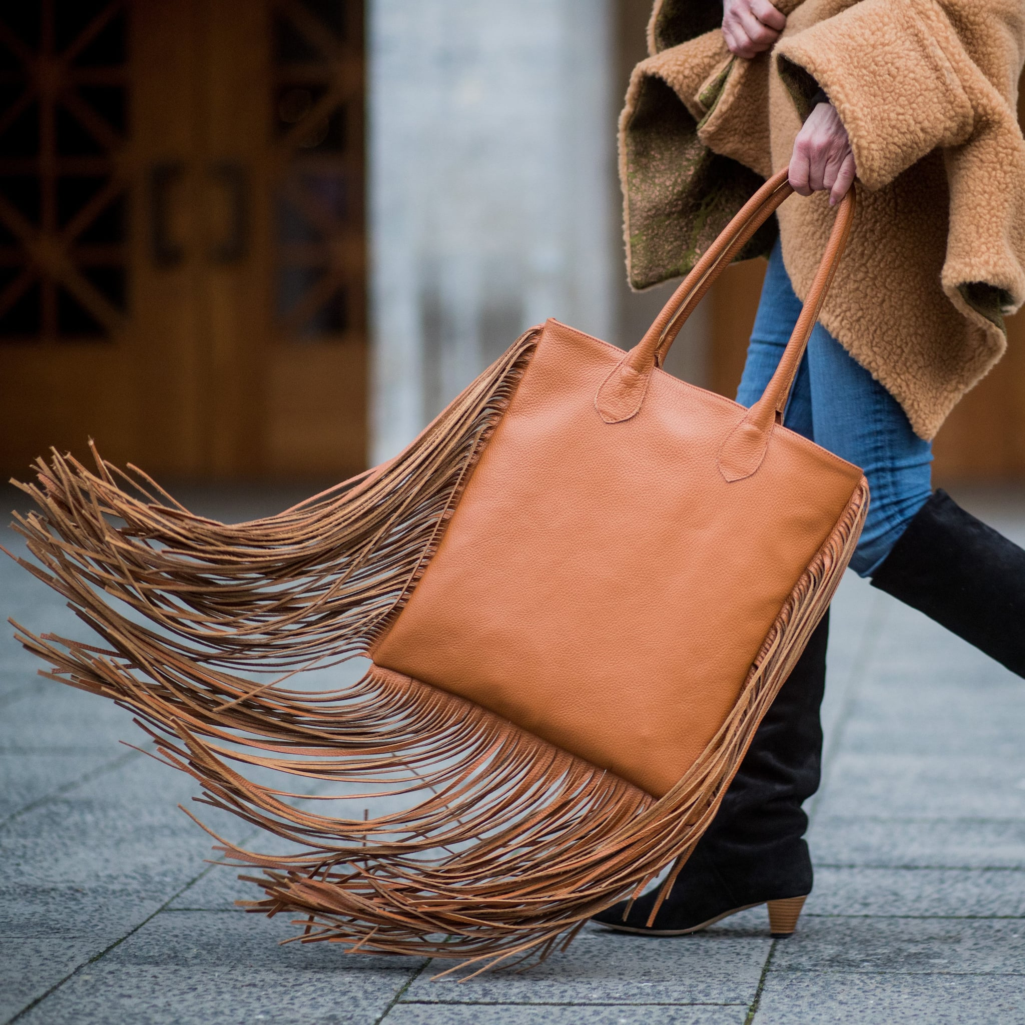 e4d4c8651957 Vicenzo Leather Allyson Suede Leather Fringe Crossbody Bag
