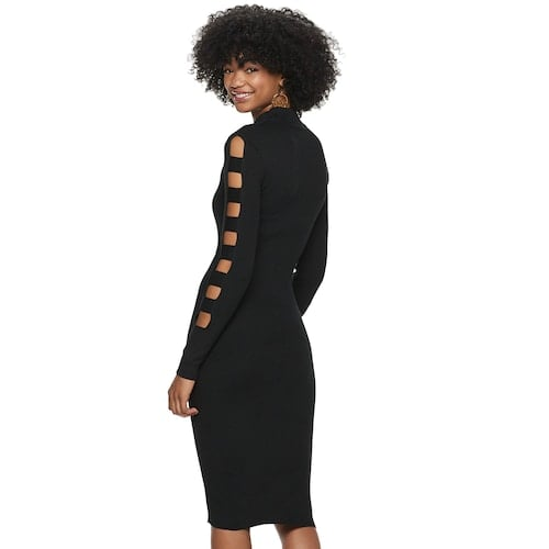 Almost Famous Mock Neck Cage Sleeve Midi Dress