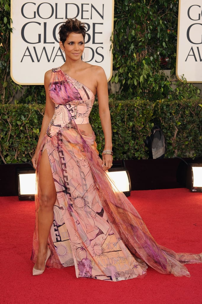 Halle Berry showed some leg in her floral gown. | Halle Berry at the ...