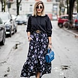 With a Black Hoodie and a Maxi Skirt