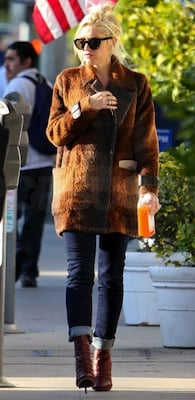 Gwen Stefani in Patchwork LAMB jacket and Leather Boots