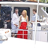 Blake Lively sported a hot red maxi skirt.