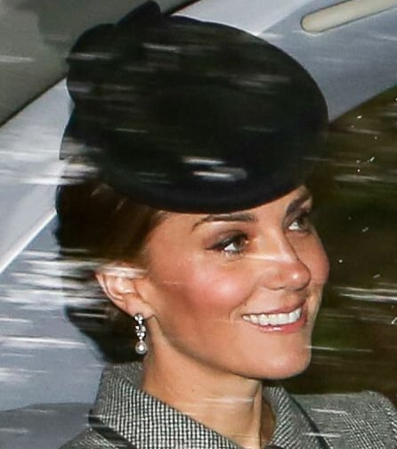 Kate was spotted on her way to church in Balmoral wearing the diamond and pearl earrings, which are known as the Bahrain Pearl Drop Earrings.