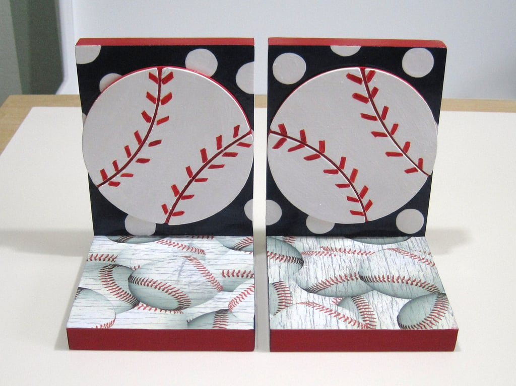 Organize your little one's favorite reads with these polka-dotted baseball bookends ($35).