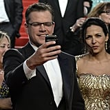 Matt Damon focused on capturing his Cannes Film Festival experience on Tuesday at the Behind the Candelabra premiere.
