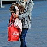 Katie Holmes wore her favorite tan boots.