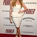 Jennifer Lopez posed on the red carpet in an all-white outfit.