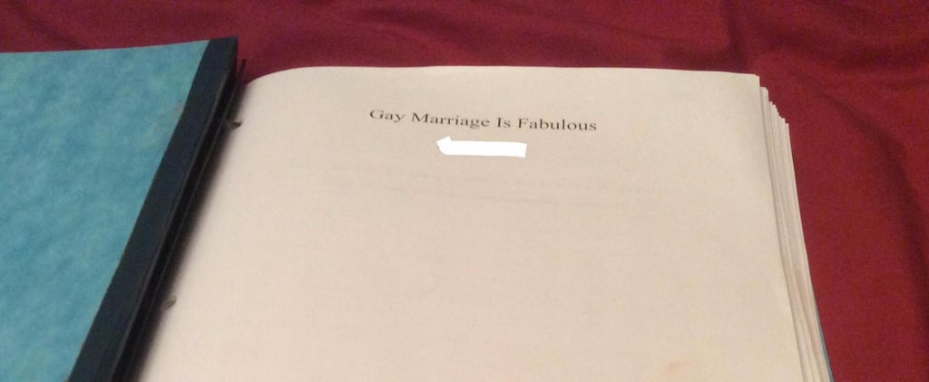 Catholic School Student's Gay Marriage Class Assignment