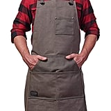 Heavy Duty Waxed Canvas Work Apron With Tool Pockets