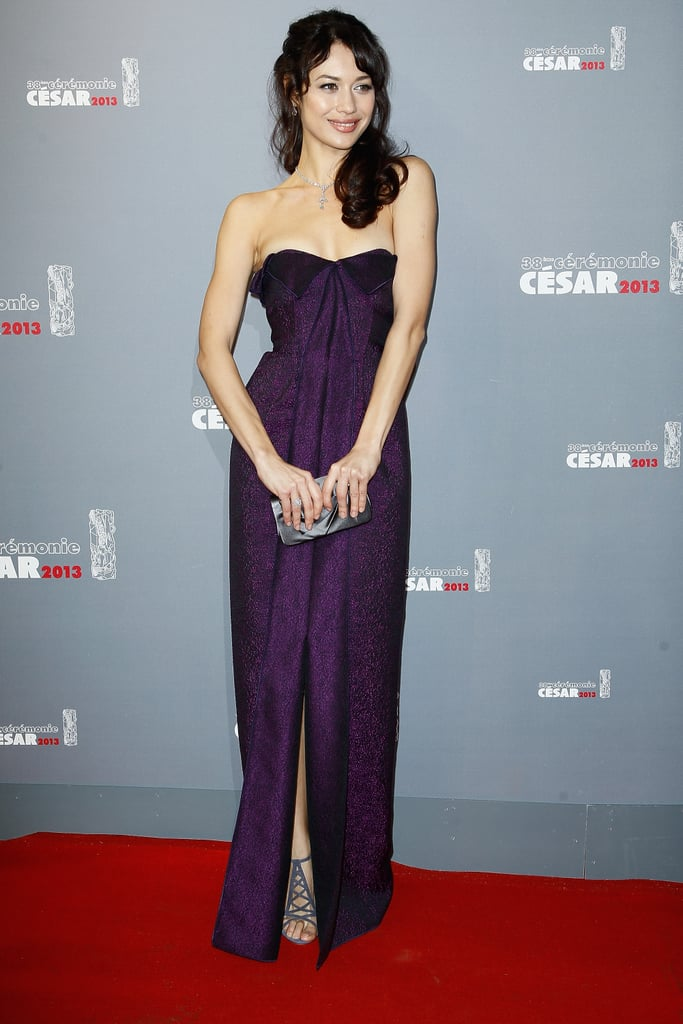 The actress showed off a sparkly purple strapless gown and pewter accessories at the 2013 César Film Awards in Paris.