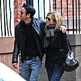 In September 2011, Justin put a loving arm around Jennifer during one of their many walks around NYC.