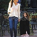Katie Holmes and Suri Cruise wore white and black in Pittsburg.