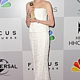 Anne Hathaway held onto her Golden Globe.