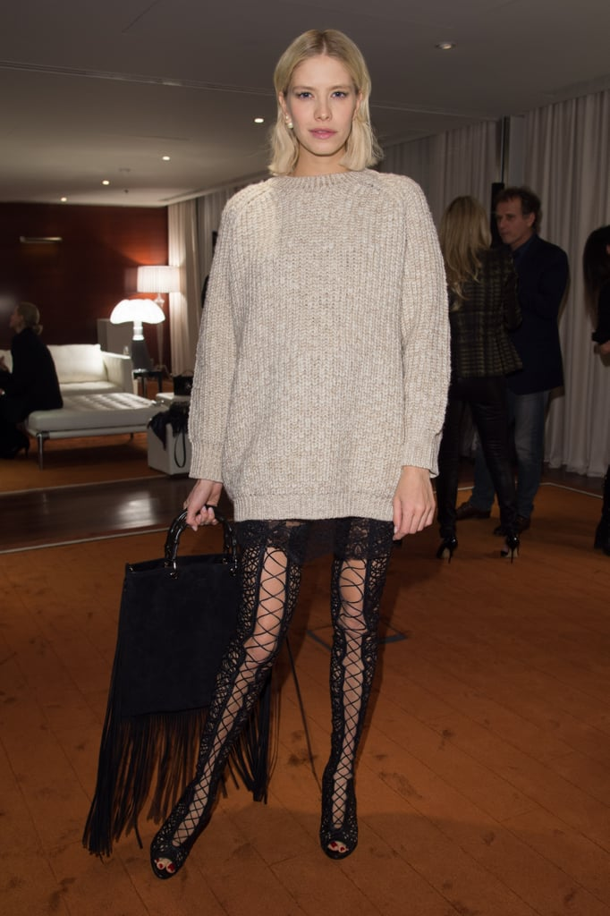 Elena Perminova managed to make an oversize sweater sexy at the Gucci screening of The Director.