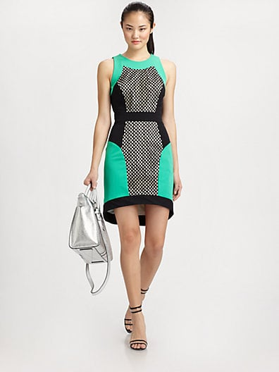 The perfect Spring work dress comes in the form of this Milly mesh-paneled colorblocked sheath ($425).