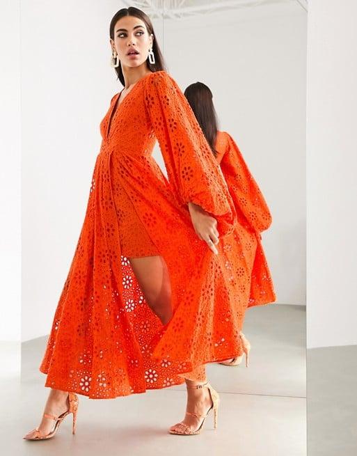 ASOS Broderie Midi Dress