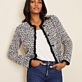 Ann Taylor Fringe Tweed Sweater Jacket
