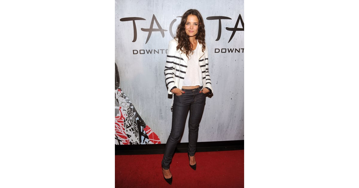 Looking Effortlessly Chic In A Striped Each X Other Biker Jacket At Chic Sporty Or Sexy Why Katie Holmes Is A Denim Chameleon Popsugar Fashion Photo 74