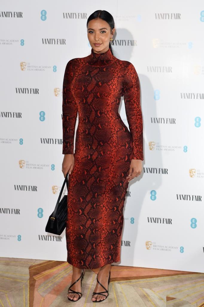 Maya Jama at the Vanity Fair EE Rising Star BAFTAs Preparty