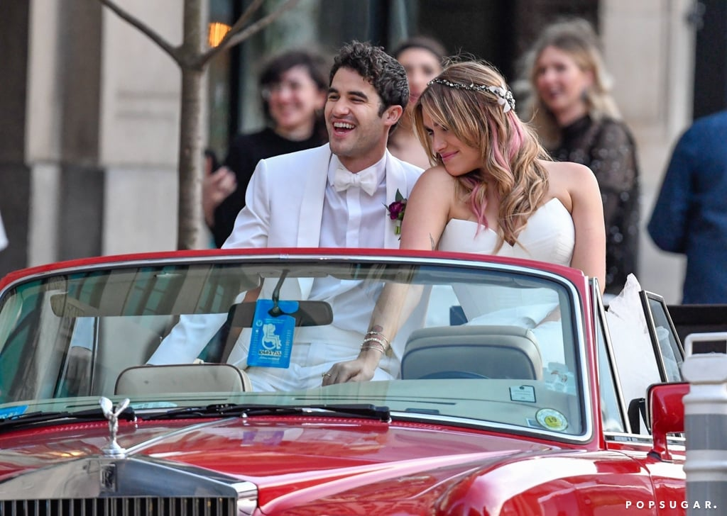 Darren Criss and Mia Swier are officially Mr. and Mrs.! On Saturday, the longtime couple tied the knot during a fun-filled wedding in New Orleans. The pair couldn't hide their smiles as they were spotted riding around in a classic Rolls-Royce as they left the Ace Hotel. Darren opted for a white tux, while his bride paired her white corset gown with matching combat boots. The two even had a brass band lead them into their reception at the New Orleans Museum of Art.  The couple was surrounded by family and friends for their special day, including a few of Darren's former Glee costars. Chord Overstreet and Harry Shum Jr. were in attendance, while Lea Michele gave a special performance during the wedding. While the costars haven't posted any photos together yet, we're in for another Glee reunion when Lea ties the knot with Zandy Reich. The actress has already asked showrunner Ryan Murphy to officiate the ceremony and wants Darren to sing at her wedding.       Related:                                                                                                           Darren Criss and His Wife, Mia Swier, Have Been Together Since Before Glee