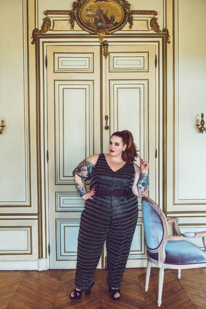 On Tess: NOIR Bijoux Jumpsuit ($300)
