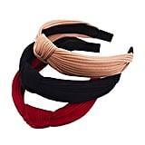Pack of 3 Wide Striped Cross Knot Headbands