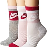 Nike Striped Low Quarter Socks 3-Pair Women's Crew Cut Socks Shoes