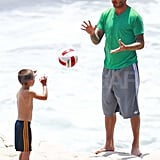 David Beckham on the beach.