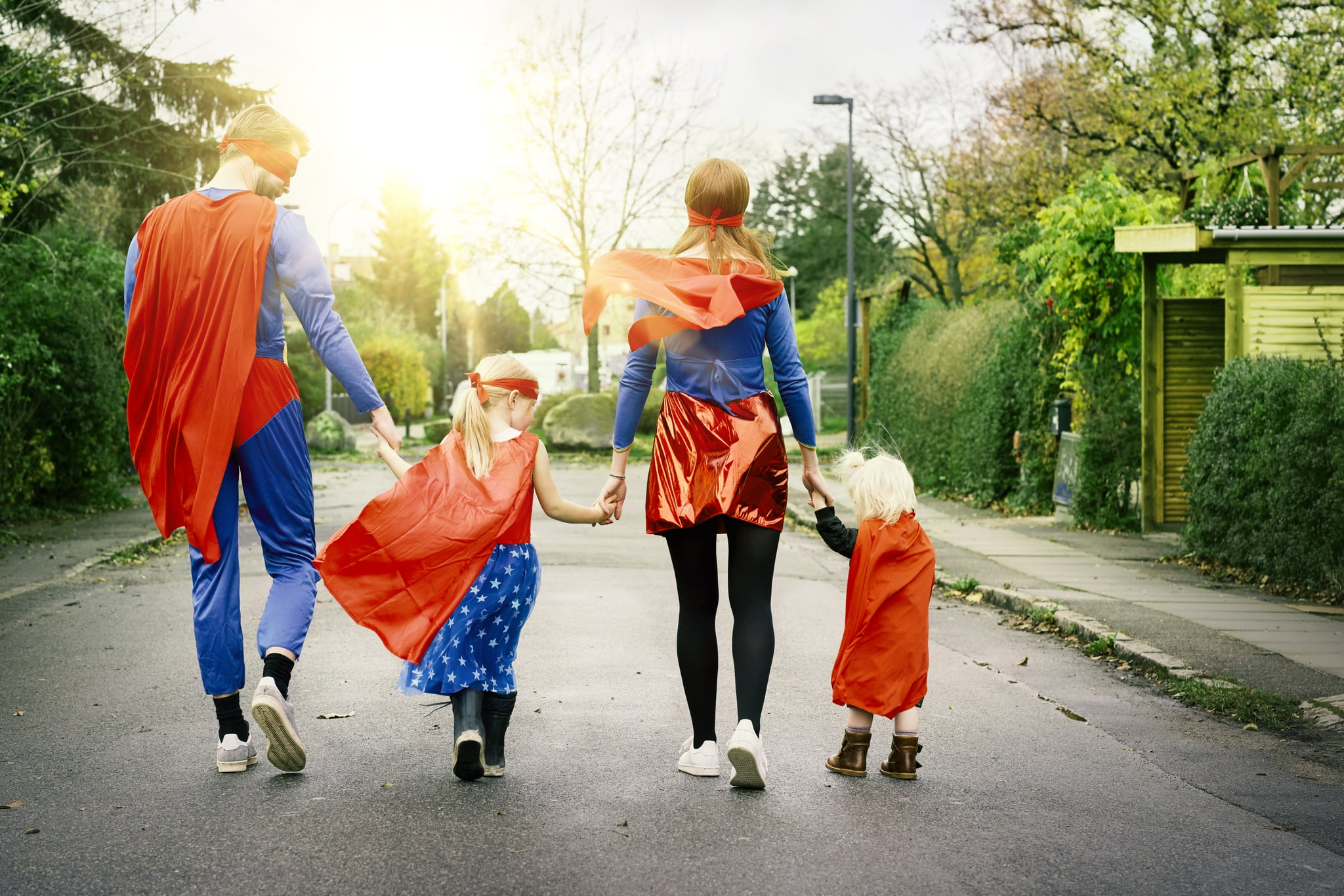 Scandinavian family dressed as everyday heroes