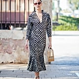 Dress down a smart printed dress with daytime accessories.