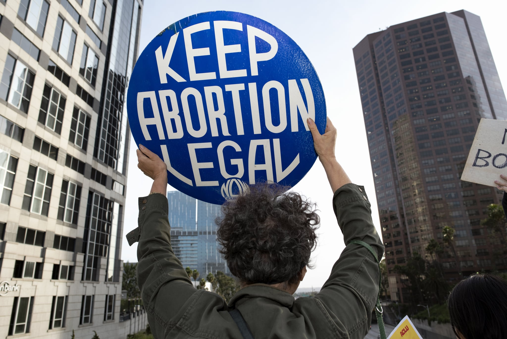 LOS ANGELES, CA, UNITED STATES - 2019/05/21: An activist seen holding a placard that says Keep Abortion Legal during the protest.Women rights activists protested against restrictions on abortions after Alabama passed the most restrictive abortion bans in the US. Similar Stop the Bans Day of Action for Abortion Rights rallies were held across the nation. (Photo by Ronen Tivony/SOPA Images/LightRocket via Getty Images)