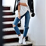 Jeans, a White Tee, a Leather Jacket, and Sneakers