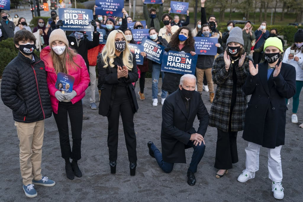 Lady Gaga Wears Vote Mask and Platform Boots to Biden Event