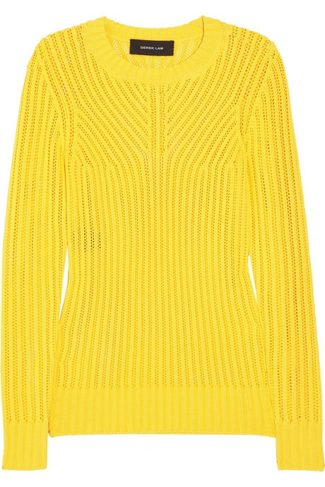 This citrus-hued sweater would look fantastic against crisp white jeans.  Derek Lam Ribbed Open-Knit Sweater ($790)