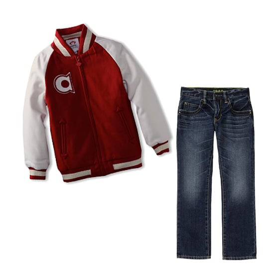 Get the Look: Knox's Retro Collegiate Jacket and Jeans