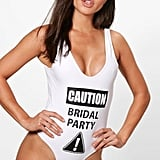 Boohoo Malta Caution Bridal Party Slogan Scoop Swimsuit