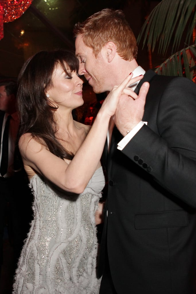 Damian Lewis and Helen McCrory cuddled up nose-to-nose on the dance floor.