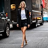 Style Your Gym Shorts with a Blazer, White Tee, and Heels