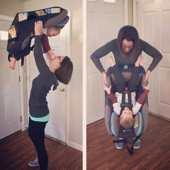 Photo of Mom Holding Her Baby's Car Seat Upside Down