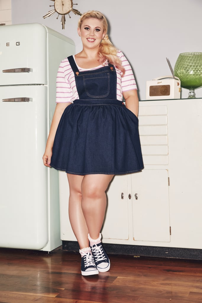 latest style classcic competitive price The dungaree dress (£40) worn over the striped jersey top ...