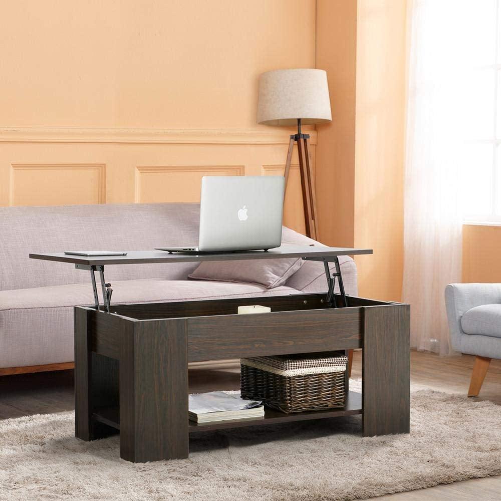 Yaheetech Adjustable Lift Top Coffee Table