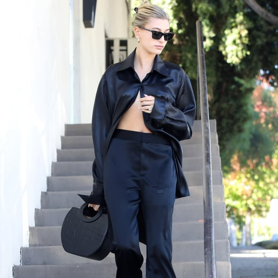 Hailey Baldwin Styled Silk Pajamas With Vans Sneakers
