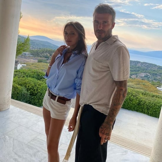 Victoria Beckham's White Shorts on Vacation in Greece