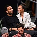 John Legend and Chrissy Teigen looked cute in the stands while watching the Lakers play the Brooklyn Nets in February.