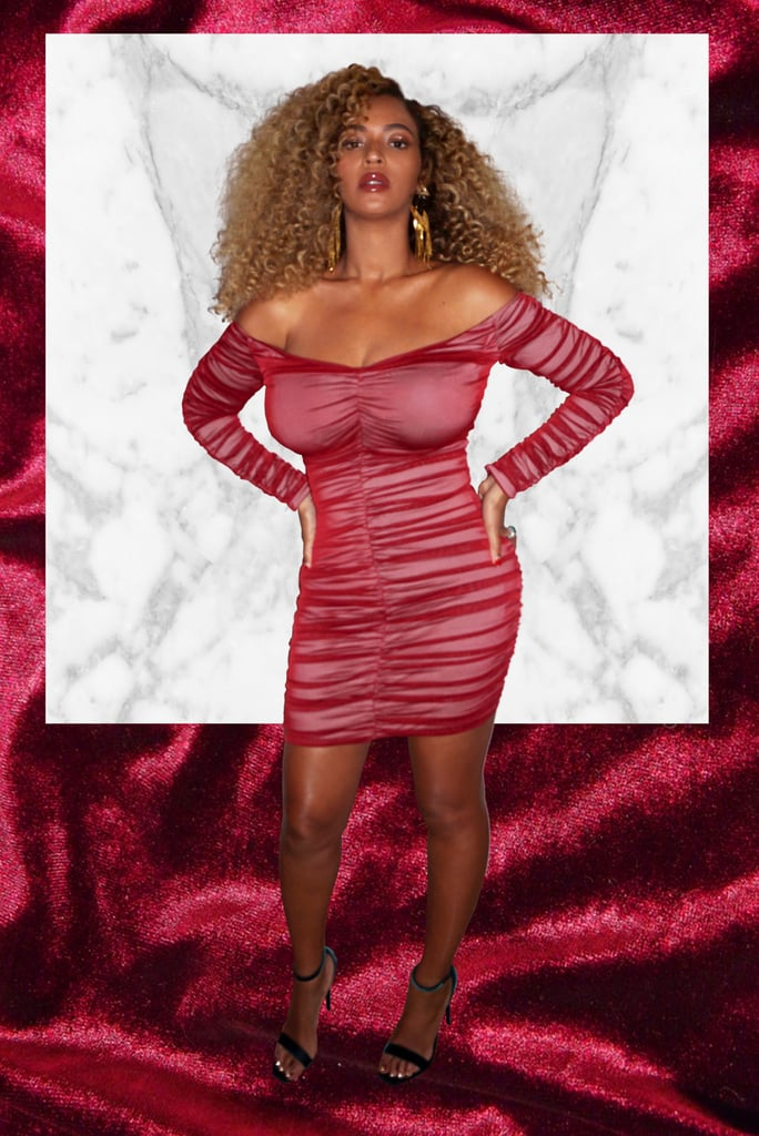 Beyonce's Ruched Silk House of CB Red Dress