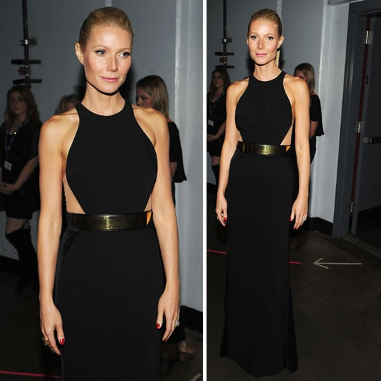 Gwyneth Paltrow Wears Black Stella McCartney Dress to the 2012 Grammy Awards. Love That Gold Belt!